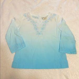 Girls ombré Blue 3/4 sleeve blouse